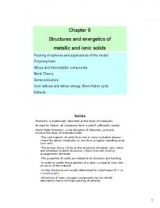 Chapter 6 Structures and energetics of metallic and ionic solids