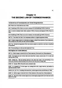 Chapter 6 THE SECOND LAW OF THERMODYNAMICS