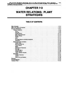 CHAPTER 7-3 WATER RELATIONS: PLANT STRATEGIES