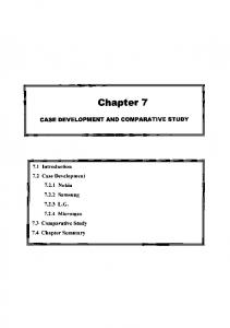 Chapter 7 CASE DEVELOPMENT AND COMPARATIVE STUDY
