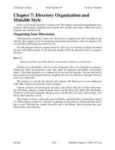 Chapter 7: Directory Organization and Makefile Style