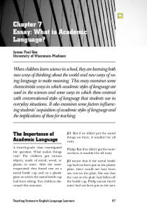 Chapter 7 Essay: What is Academic Language?