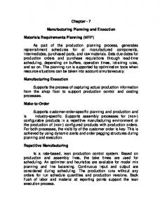 Chapter - 7. Manufacturing Planning and Execution