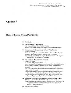 Chapter 7 ORGANIC LIQUID-WATER PARTITIONING