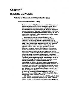 Chapter 7. Reliability and Validity. Validity of The Arc's Self-Determination Scale. Concurrent Criterion-related Validity