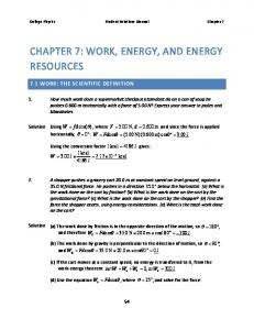 CHAPTER 7: WORK, ENERGY, AND ENERGY RESOURCES