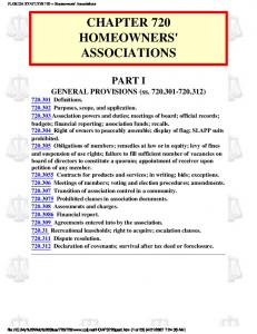 CHAPTER 720 HOMEOWNERS' ASSOCIATIONS