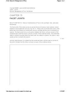 CHAPTER 75 FACET JOINTS
