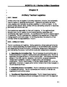 Chapter 8. Artillery Tactical Logistics