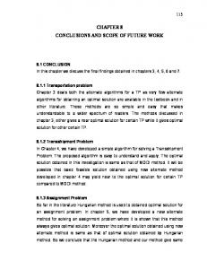 CHAPTER 8 CONCLUSIONS AND SCOPE OF FUTURE WORK