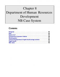 Chapter 8 Department of Human Resources Development NB Case System