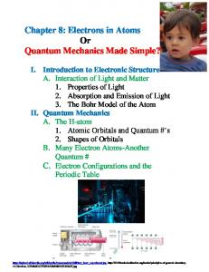 Chapter 8: Electrons in Atoms Or Quantum Mechanics Made Simple?