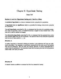 Chapter 8: Hypothesis Testing