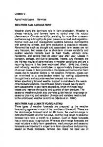 Chapter 9. Agroclimatologicale rservices WEATHER AND AGRICULTURE