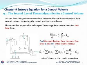 Chapter 9 Entropy Equation for a Control Volume