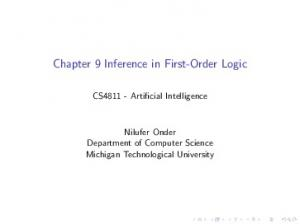Chapter 9 Inference in First-Order Logic