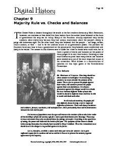 Chapter 9 Majority Rule vs. Checks and Balances