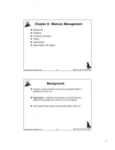 Chapter 9: Memory Management. Background