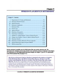 Chapter 9 PENSION PLAN SERVICE RETIREMENT
