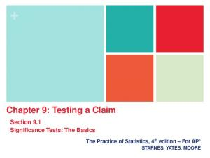 Chapter 9: Testing a Claim