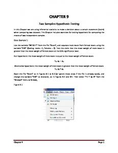 CHAPTER 9. Two Samples Hypothesis Testing