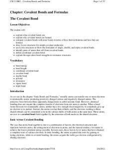 Chapter: Covalent Bonds and Formulas The Covalent Bond