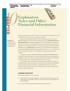 CHAPTER. Explanatory Notes and Other Financial Information LEARNING OBJECTIVES