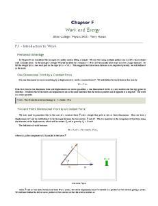 Chapter F. Work and Energy. Blinn College - Physics Terry Honan
