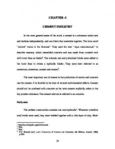 CHAPTER -I CEMENT INDUSTRY