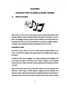 CHAPTER I INTRODUCTION TO MUSIC & MUSIC GENRES