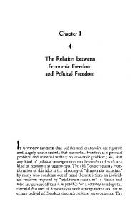 Chapter I. The Relation between Economic Freedom and Political Freedom