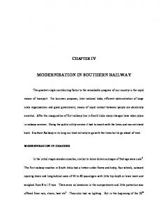 CHAPTER IV MODERNISATION IN SOUTHERN RAILWAY