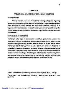 CHAPTER IV PROMOTIONAL STRATEGIES OF SMALL SCALE INDUSTRIES
