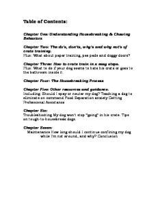Chapter One: Understanding Housebreaking & Chewing Behaviors