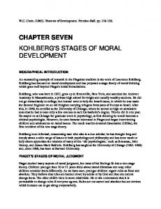 CHAPTER SEVEN KOHLBERG'S STAGES OF MORAL DEVELOPMENT