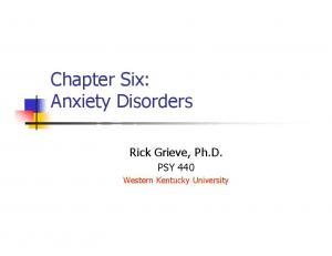 Chapter Six: Anxiety Disorders