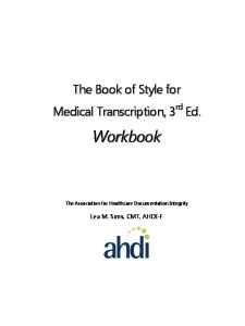 CHAPTER. The Association for Healthcare Documentation Integrity. Lea M. Sims, CMT, AHDI-F
