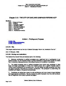 Chapter THE CITY OF OAKLAND CAMPAIGN REFORM ACT*
