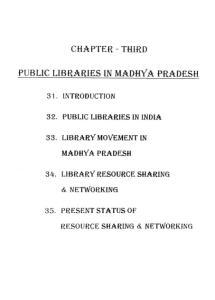 CHAPTER -THIRD PUBLIC LIBRARIES 11 MADHYA PRADESH