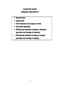 CHAPTER THREE DEMAND AND SUPPLY