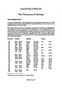 CHAPTER TWELVE. The Phonemes of German