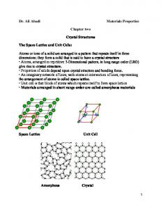 Chapter two. Crystal Structures