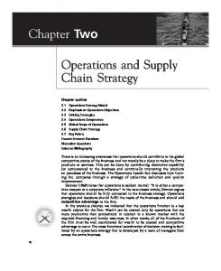 Chapter Two. Operations and Supply Chain Strategy. Chapter outline
