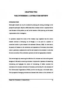 CHAPTER TWO VOLUNTEERISM: A LITERATURE REVIEW