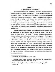 Chapter VI LUSO-INDIAN SETTLEMENTS