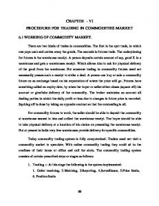CHAPTER VI PROCEDURE FOR TRADING IN COMMODITIES MARKET