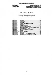 CHAPTER VII. Carriage of dangerous goods
