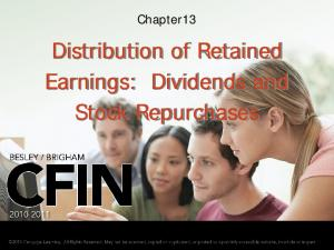 Chapter13. Distribution of Retained Earnings: Dividends and Stock Repurchases