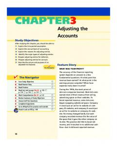 CHAPTER3. Adjusting the Accounts. Study Objectives. Feature Story