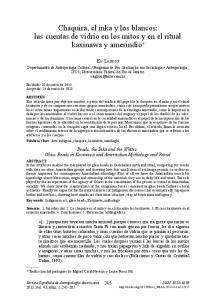 Chaquira, el inka y los blancos: las cuentas de vidrio en los mitos y en el ritual kaxinawa y amerindio *